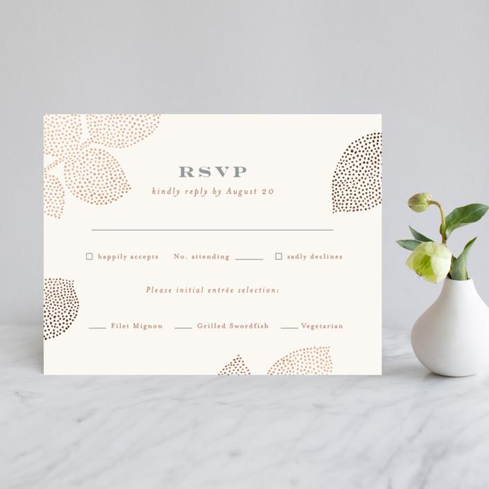 """Pointillist rose leaves"" - Rustic Foil-pressed Rsvp Cards in Blush by Jennifer Wick."