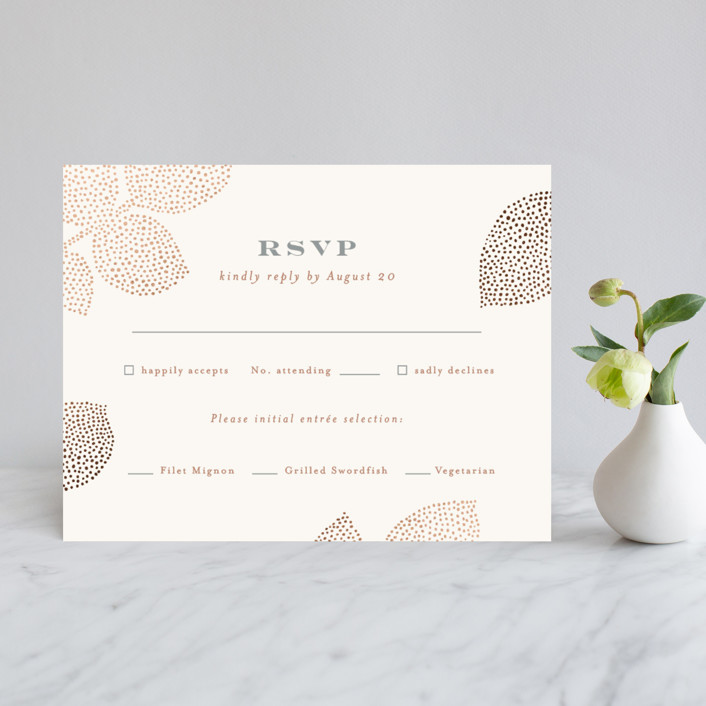"""Pointillist rose leaves"" - Rustic Foil-pressed Rsvp Cards in Blush by Jennifer Wick."