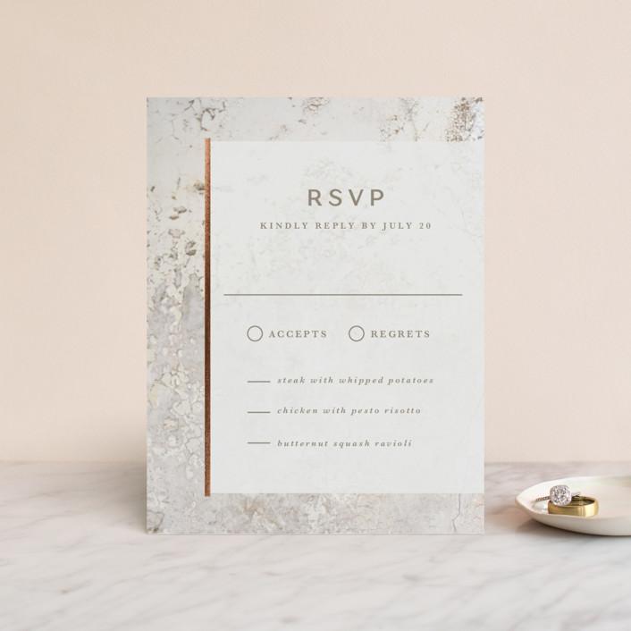 """""""Juniper"""" - Modern Foil-pressed Rsvp Cards in Cream by Basil Design Studio."""