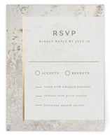 This is a beige rsvp card by Lisa Assenmacher called Juniper with foil-pressed printing on signature in standard.