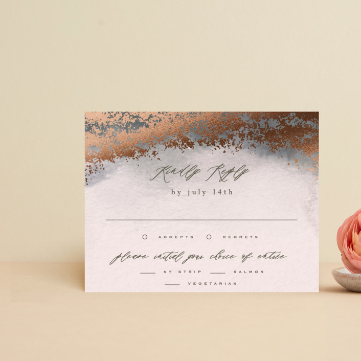 """""""Tidal"""" - Rustic Foil-pressed Rsvp Cards in Storm by Everett Paper Goods."""