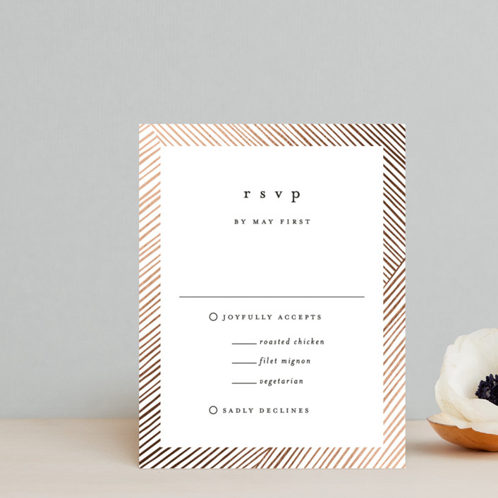 """""""Lineup"""" - Modern Foil-pressed Rsvp Cards in Linen by Annie Shapiro."""