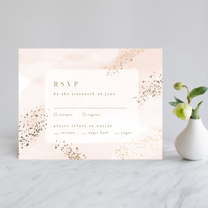 """Zara"" - Foil-pressed Rsvp Cards in Blush by Kristie Kern."