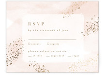 This is a pink rsvp card by Kristie Kern called Zara with foil-pressed printing on signature in standard.