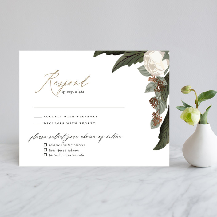 """Floral Sweep"" - Rustic Foil-pressed Rsvp Cards in Powder by Susan Moyal."