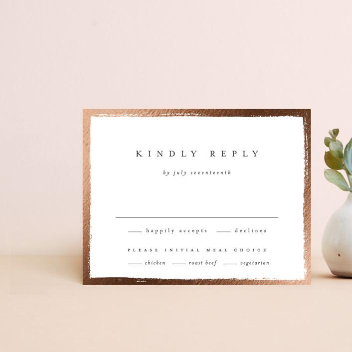 """Painted Frame"" - Foil-pressed Rsvp Cards in Silk by Kelly Schmidt."