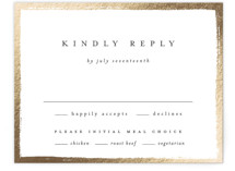 This is a white rsvp card by Kelly Schmidt called Painted Frame with foil-pressed printing on signature in standard.