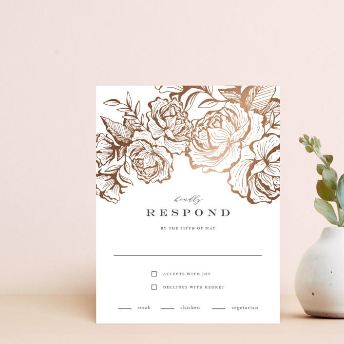"""Beautiful Bouquet"" - Rustic Foil-pressed Rsvp Cards in Slate by Jennifer Postorino."