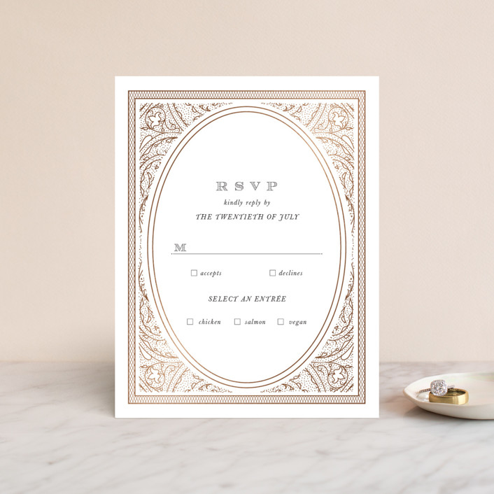 """Intricate"" - Vintage Foil-pressed Rsvp Cards in Classic by Design Lotus."