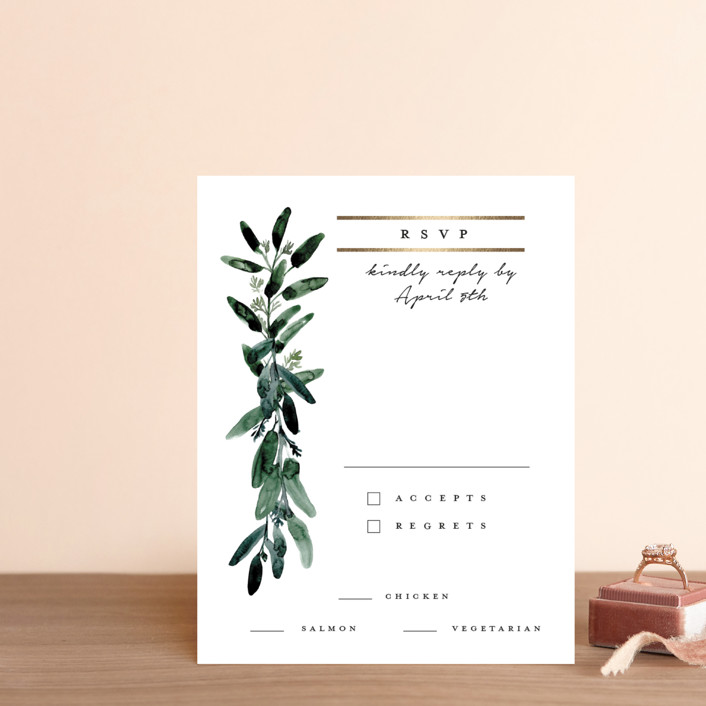 """""""Gilded Eucalyptus"""" - Foil-pressed Rsvp Cards in Snow by Lissabeth Anglin."""