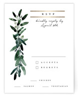 This is a white rsvp card by Lissabeth Anglin called Gilded Eucalyptus with foil-pressed printing on signature in standard.
