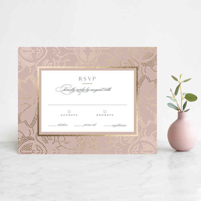 """""""Nicolette"""" - Bohemian Foil-pressed Rsvp Cards in Peony by Susan Zinader."""