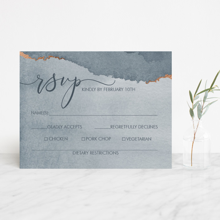 """""""Dreamy"""" - Foil-pressed Rsvp Cards in Dusty Blue by Danielle Cole."""