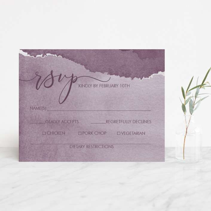 """Dreamy"" - Foil-pressed Rsvp Cards in Dusty Blue by Danielle Cole."