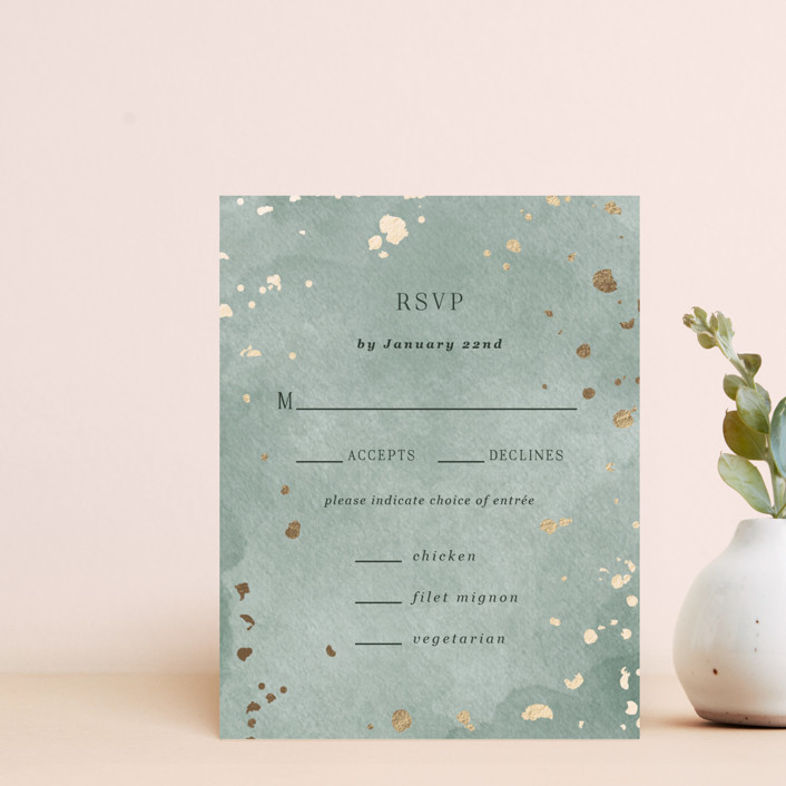 """""""Minimal Abstract"""" - Foil-pressed Rsvp Cards in Emerald by Elly."""