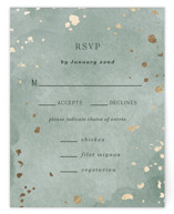 This is a green rsvp card by Elly called Minimal Abstract with foil-pressed printing on signature in standard.