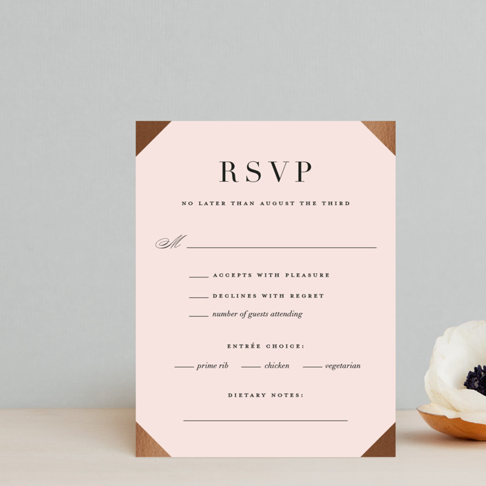 """""""Enchanted Evening"""" - Foil-pressed Rsvp Cards in Blush by Ashley DeMeyere."""