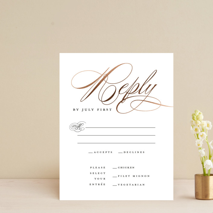 """""""clean and classic"""" - Foil-pressed Rsvp Cards in Ivory by Laura Hamm."""