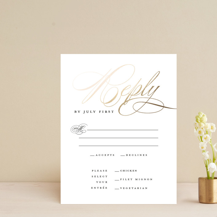 """clean and classic"" - Foil-pressed Rsvp Cards in Ivory by Laura Hamm."