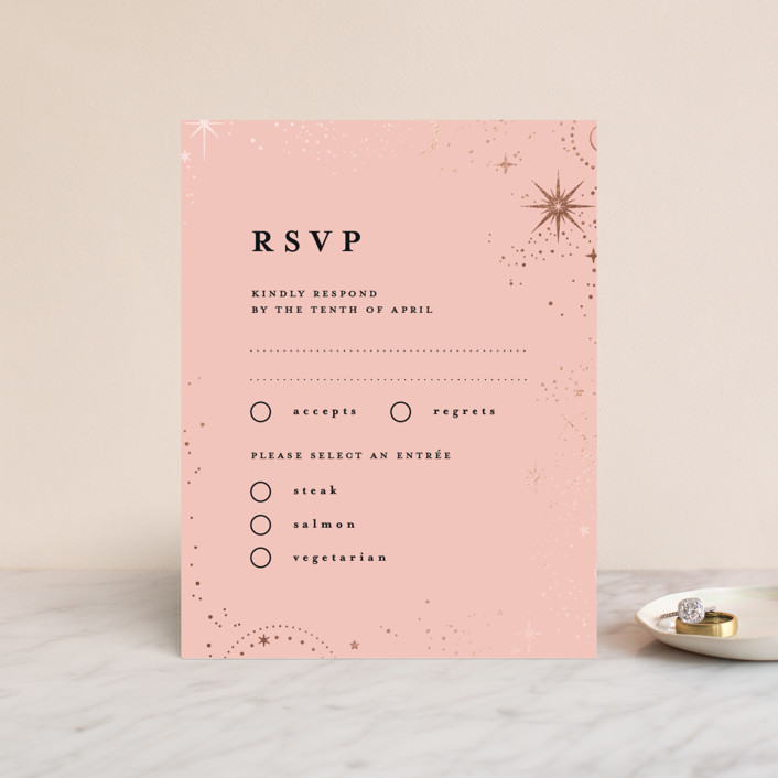 """look at the stars"" - Bohemian Foil-pressed Rsvp Cards in Midnight by Anastasia Makarova."