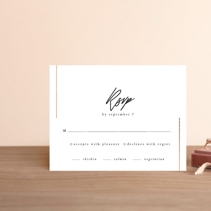 """parallel lines"" - Foil-pressed Rsvp Cards in Blanc by Faith Dorn."