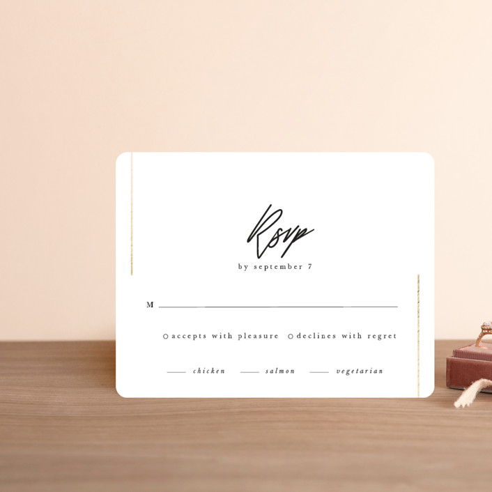 """""""parallel lines"""" - Foil-pressed Rsvp Cards in Blanc by Faith Dorn."""