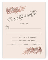 This is a pink rsvp card by Katharine Watson called Slanted Script Leaves with foil-pressed printing on signature in standard.