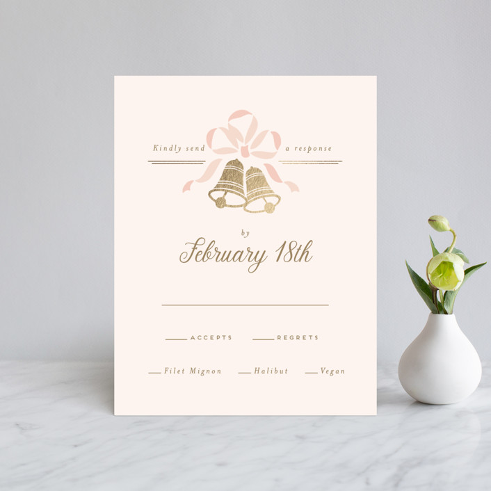 """""""Wedding Bells"""" - Foil-pressed Rsvp Cards in Apricot by Kimberly Morgan."""