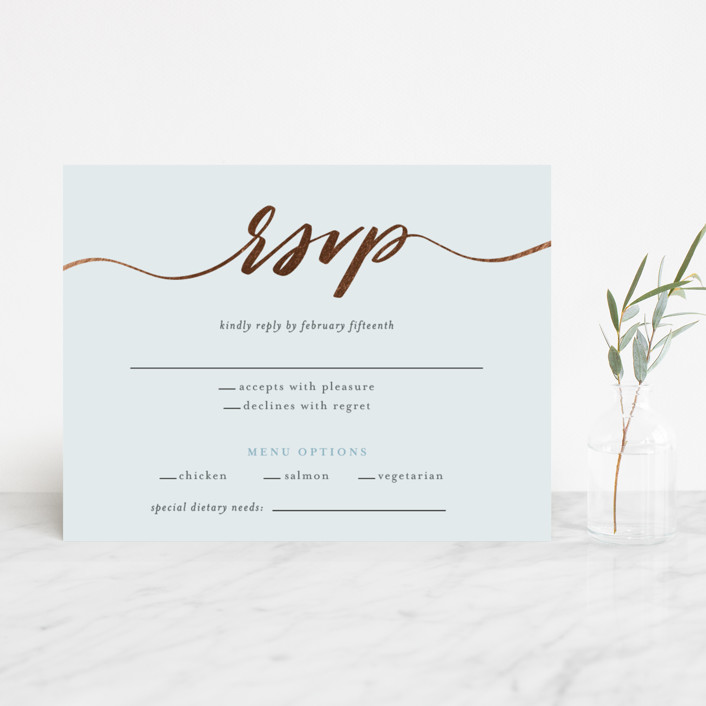 """""""Join Us"""" - Foil-pressed Rsvp Cards in Sky by Heather Cairl."""