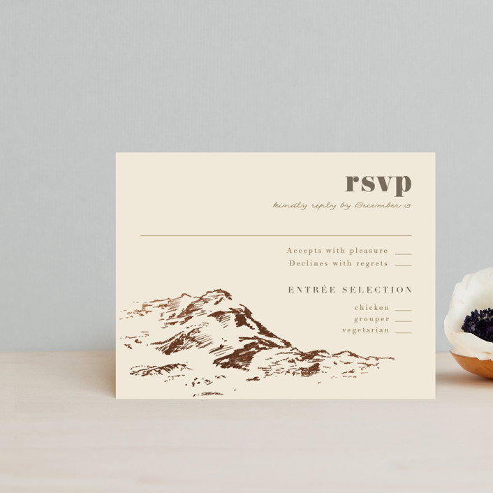 """""""Mountain Side Sketch"""" - Foil-pressed Rsvp Cards in Cream by Jessie Steury."""