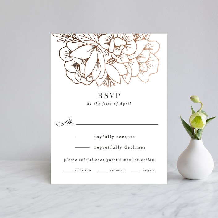 """""""Refined Bouquet"""" - Foil-pressed Rsvp Cards in Salt by Olivia Raufman."""