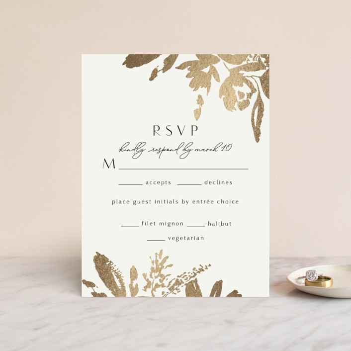 """""""Wedding veil"""" - Foil-pressed Rsvp Cards in Goldenrod by Chris Griffith."""