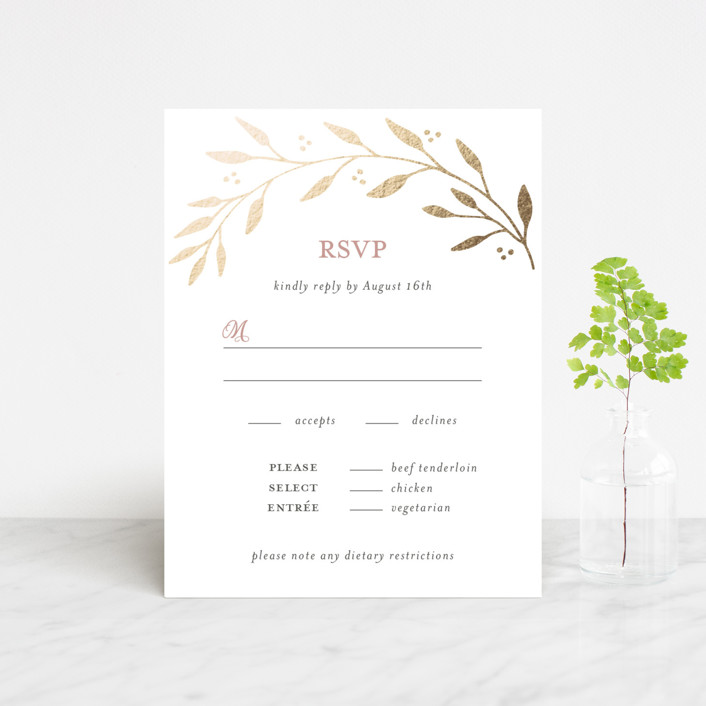 """Vineyard"" - Foil-pressed Rsvp Cards in Blush by Tennie and Co.."