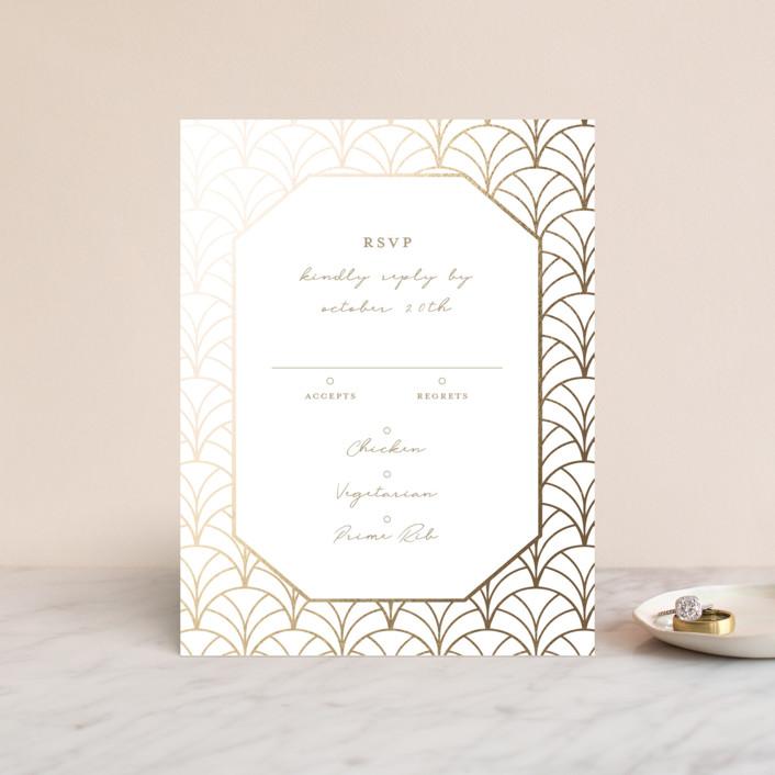 """Art Deco"" - Foil-pressed Rsvp Cards in Medallion by Emily Skinner."