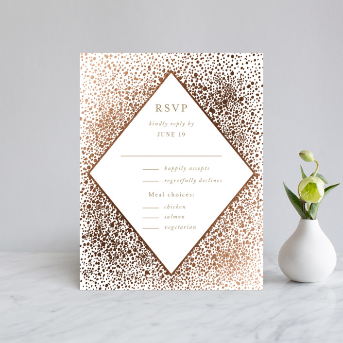 """Modern Elegance"" - Foil-pressed Rsvp Cards in Brass by Alexandra Dzh."