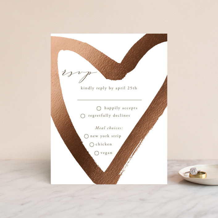 """love heart"" - Foil-pressed Rsvp Cards in Brass by Alexandra Dzh."