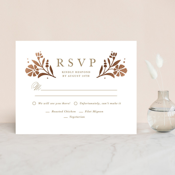 """Jasmine"" - Foil-pressed Rsvp Cards in Golden Hour by Kristen Smith."