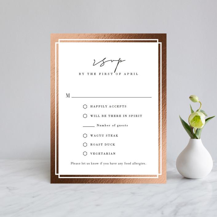 """Modern Vows"" - Foil-pressed Rsvp Cards in Silk by Jennifer Lew."