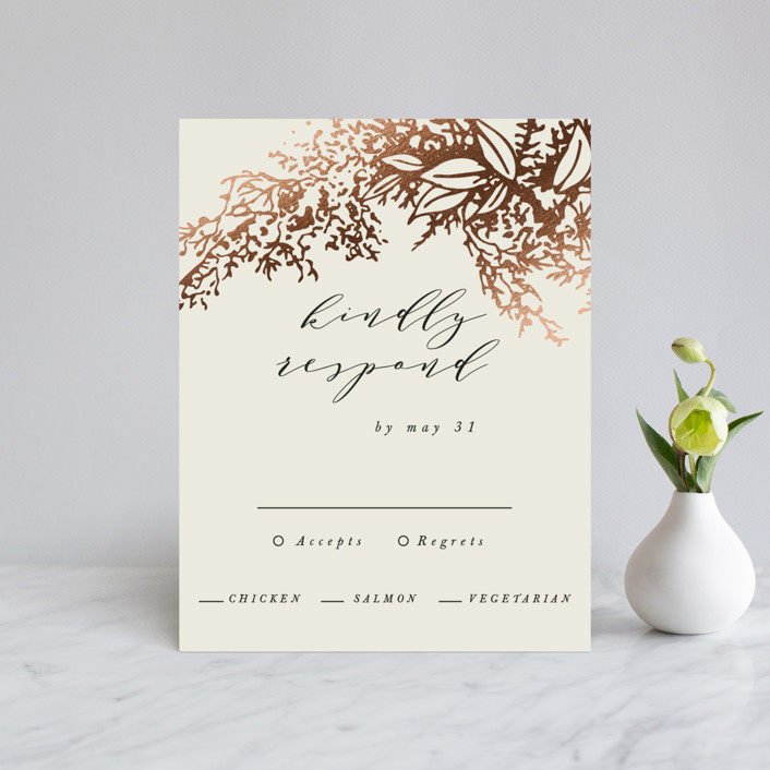 """Olivia"" - Foil-pressed Rsvp Cards in Taupe by Hannah Williams."