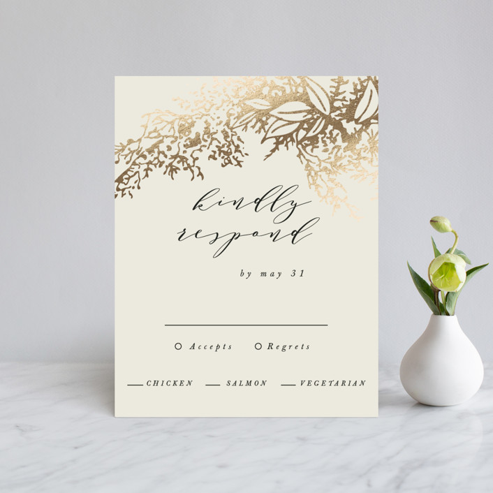"""""""Olivia"""" - Foil-pressed Rsvp Cards in Taupe by Hannah Williams."""