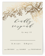 This is a brown rsvp card by Hannah Williams called Olivia with foil-pressed printing on signature in standard.