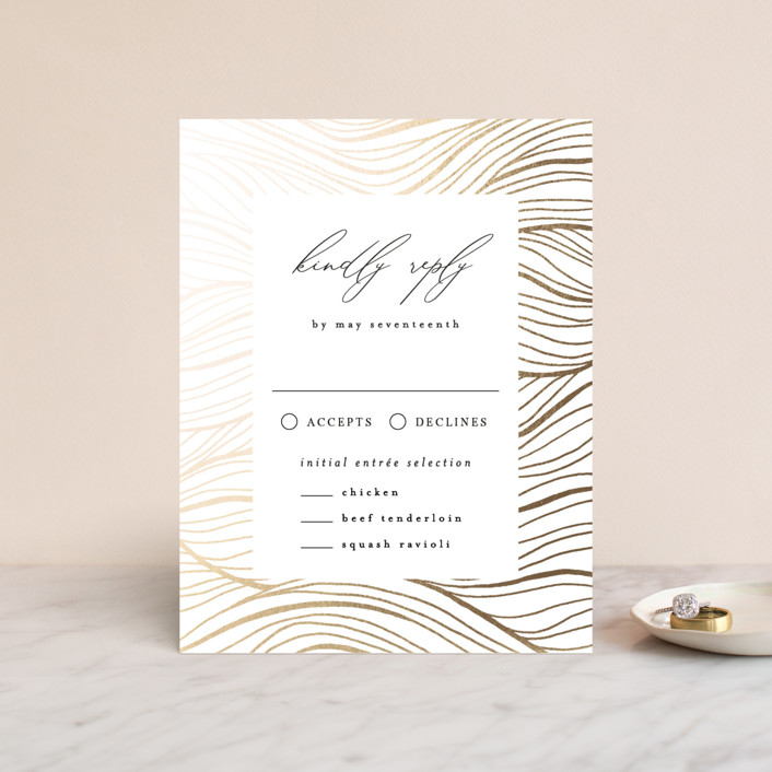 """""""Bold Waves"""" - Foil-pressed Rsvp Cards in Taupe by Kelly Schmidt."""
