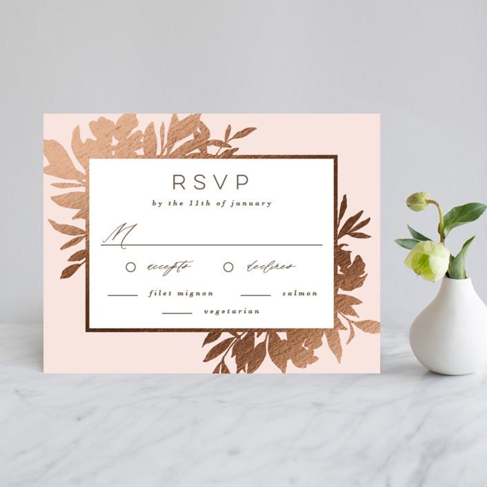 """Lavish Bouquet"" - Foil-pressed Rsvp Cards in Blush by Everett Paper Goods."