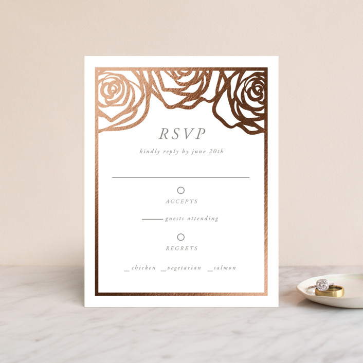 """Rose Box"" - Foil-pressed Rsvp Cards in Warm Gray by Melinda Denison."