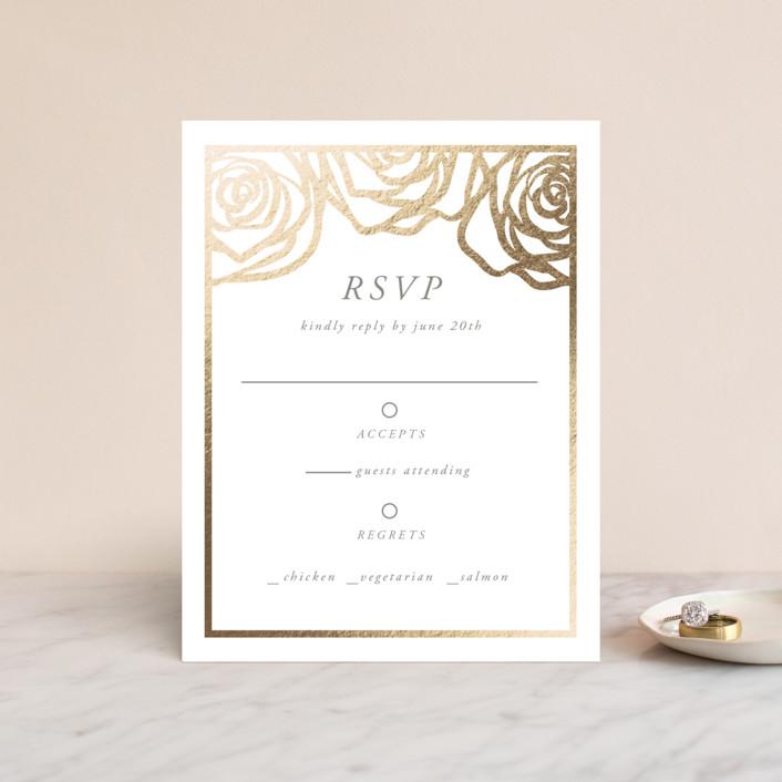 """""""Rose Box"""" - Foil-pressed Rsvp Cards in Warm Gray by Melinda Denison."""