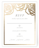 This is a grey rsvp card by Melinda Denison called Rose Box with foil-pressed printing on signature in standard.