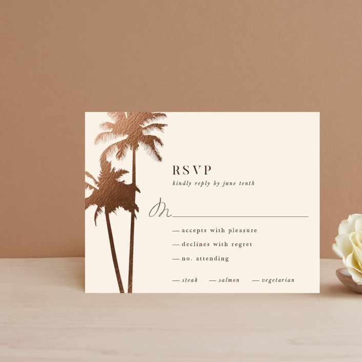 """""""Sunset by the Sea"""" - Foil-pressed Rsvp Cards in Coral by lulu and isabelle."""