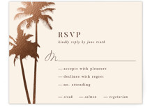 This is a pink rsvp card by lulu and isabelle called Sunset by the Sea with foil-pressed printing on signature in standard.