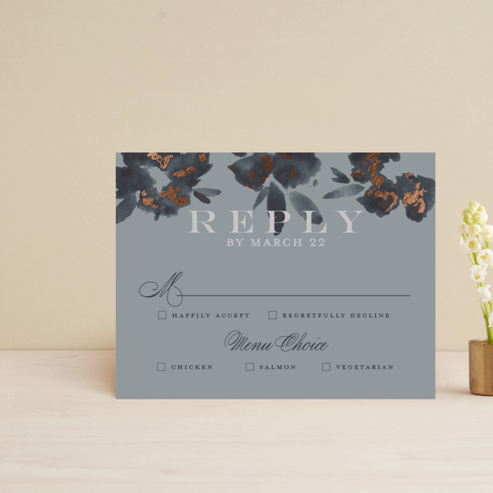 """""""Carolina"""" - Rustic Foil-pressed Rsvp Cards in Dusty Blue by Meagan Christensen."""