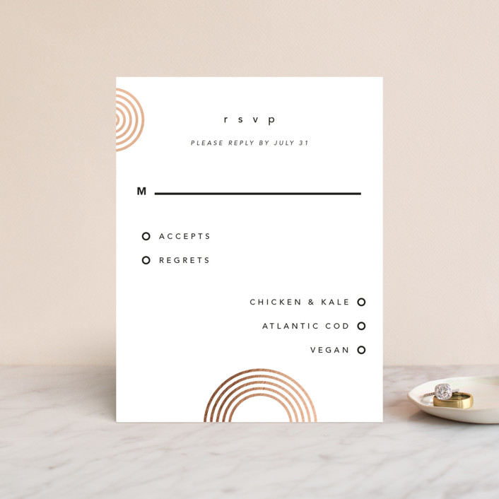 """""""Connected"""" - Modern Foil-pressed Rsvp Cards in Tuxedo by Kelsey Mucci."""